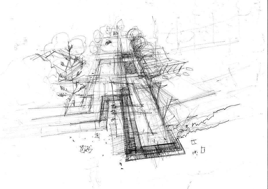 The initial conceptual sketch of the lookout structure